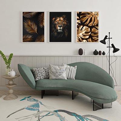 Conjunto De Quadros  Decorativos Leão Savana Folhagens Bronze
