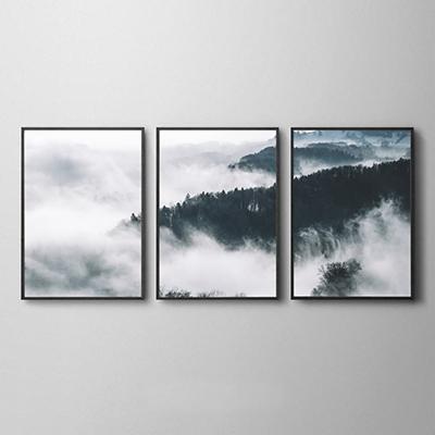 Conjunto de Quadros Decorativos Neblina na Floresta