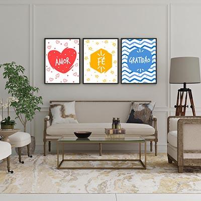 Conjunto De Quadros Decorativos Quarto Sala Coração Amor Fé Gratidão Colorido