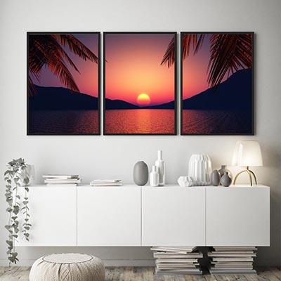 Conjunto De Quadros Decorativos Quarto Sala Paisagens Por do Sol Coqueiro