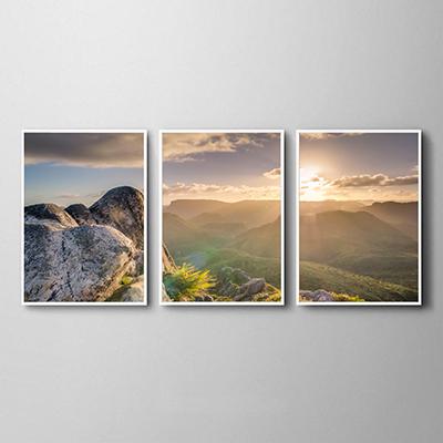Conjunto de Quadros para Sala Por do Sol nas Montanhas