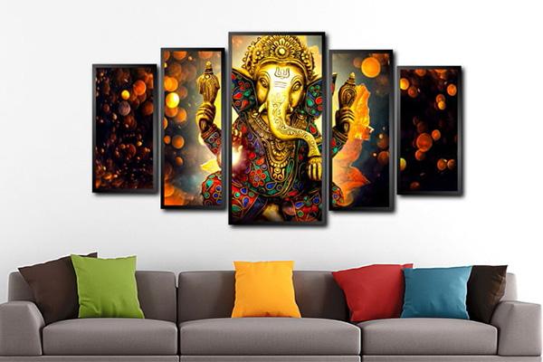 Conjunto Quadro Elefante hinduísmo