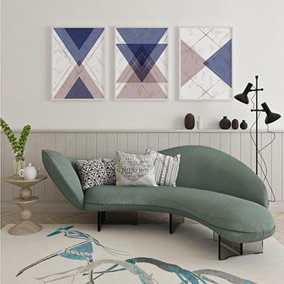 Conjunto Quadros Decorativos Geométricos Triângulos Azul