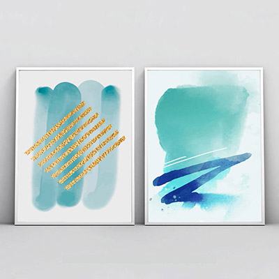 Kit 2 Quadros Decorativos Para Sala Quarto Abstrato Blue Gold
