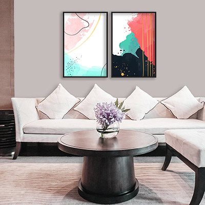Kit 2 Quadros Decorativos Para Sala Quarto Abstrato Colorido