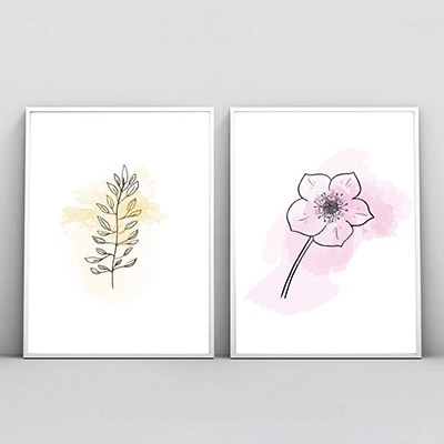 Kit 2 Quadros Decorativos Para Sala Quarto Abstrato Floral