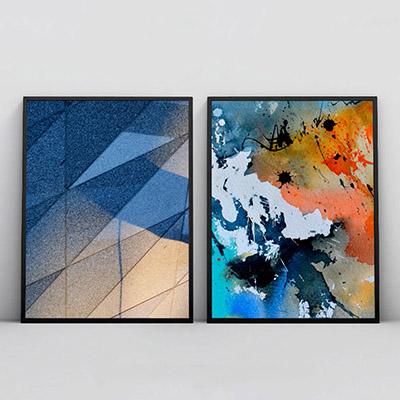 Kit 2 Quadros Decorativos Para Sala Quarto Abstrato Formas Azul Marinho
