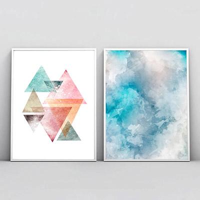 Kit 2 Quadros Decorativos Para Sala Quarto Abstrato Triângulos