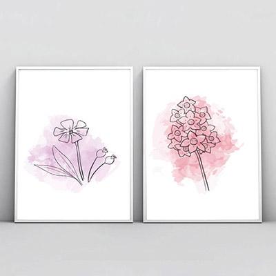 Kit 2 Quadros Decorativos Para Sala Quarto Floral Abstrato