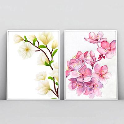 Kit 2 Quadros Decorativos Para Sala Quarto Floral Magnólias
