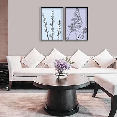 Kit 2 Quadros Decorativos Para Sala Quarto Flores Azul Lilás Arabesco