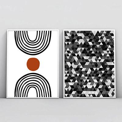 Kit 2 Quadros Decorativos Para Sala Quarto Formas Abstratas Preto e Branco