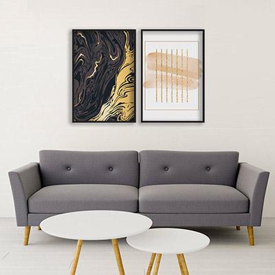 Kit 2 Quadros Decorativos Para Sala Quarto Formas Abstratas Preto e Dourado