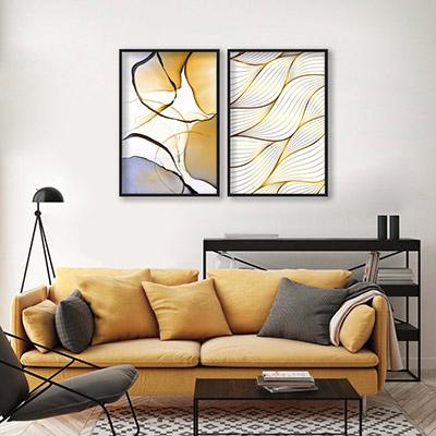 Kit 2 Quadros Decorativos Para Sala Quarto Ondas Abstratas Douradas