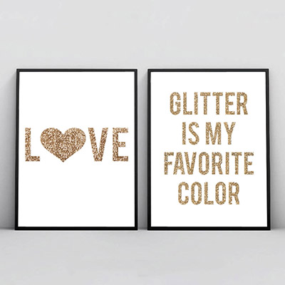 Kit 2 Quadros Para Sala Love Glitter Color