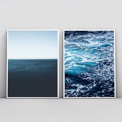 Kit 2 Quadros Para Sala Mar Infinito Oceano Azul Ondas