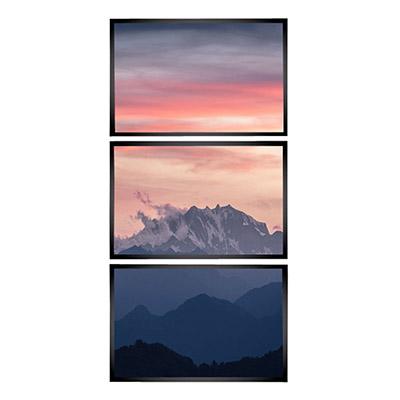 Kit 3 Quadros Decorativos Para Sala Montanhas Nuvéns Sol