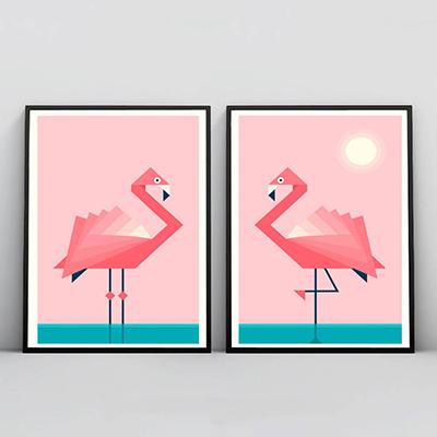 Kit 2 Quadros Para Sala Rosa Flamingo Passáros