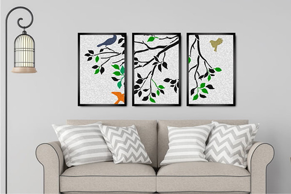 Kit 3 Quadros Decorativos Galhos de Árvore