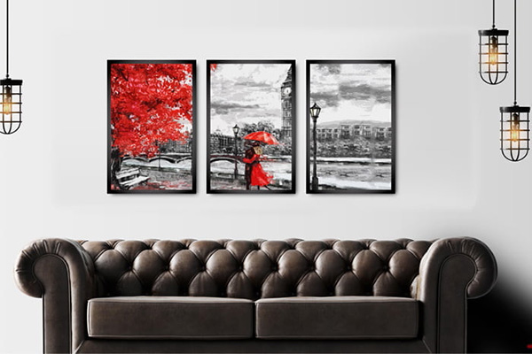 Quadros Decorativos para Quarto Londres PB Vermelho