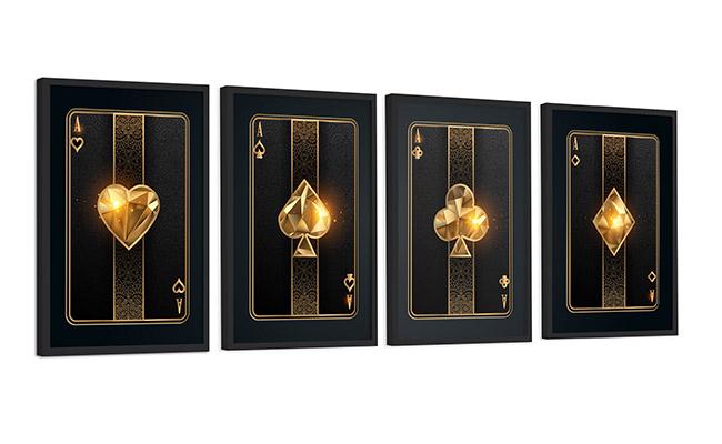 Kit 4 Quadros Com Cartas de Baralho Naipe Dourado e Preto Decoração