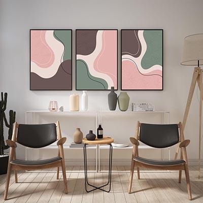 Kit De Quadros Decorativos Arte Abstrato Curves Sala Quarto