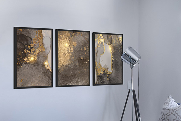 Kit de Quadros Decorativos Bronze Chumbo Ouro Brilho Luxo Quarto Sala