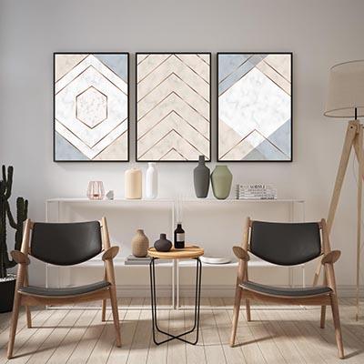 Kit De Quadros Decorativos Linhas Abstratas Contemporâneo Moderno Quarto Sala