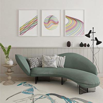 Kit De Quadros Decorativos Listras Coloridas Moderno Atual