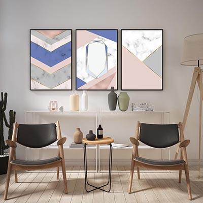 Kit De Quadros Decorativos Moderno Linhas Abstratas Azul Salmão e Branco Quarto Sala
