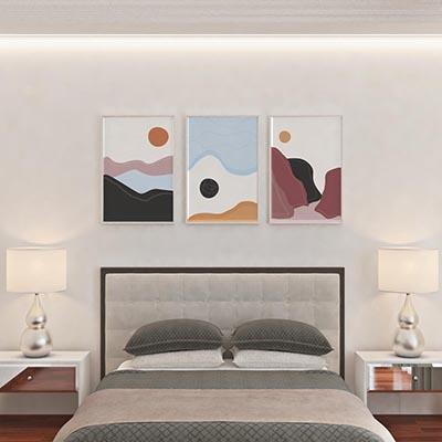 Kit De Quadros Decorativos Quarto Sala Círculos Montanhas Abstratos