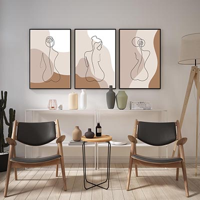Kit Quadros Decorativos Abstrato Curvas Mulher Moderno Recepção