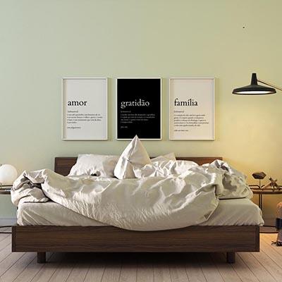 Kit Quadros Decorativos Amor Gratidão Família Significados Sala Quarto