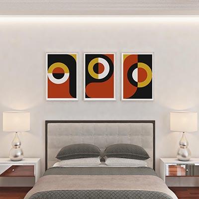 Kit Quadros Decorativos Arte Contemporânea Abstrato Vermelho Preto