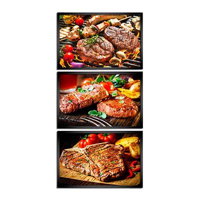 Kit Quadros Decorativos Carne Churrasco Grelha