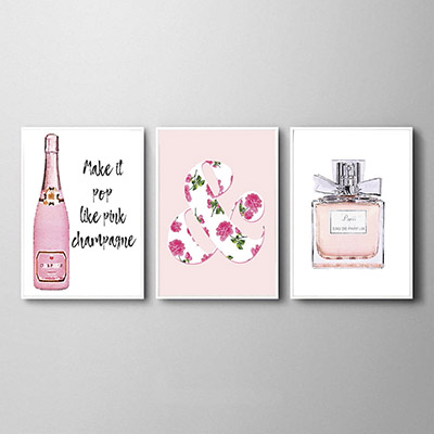 Kit Quadros Decorativos Champagne Perfume Make It