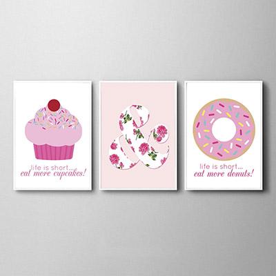 Kit Quadros Decorativos Cupcake Rosquinhas