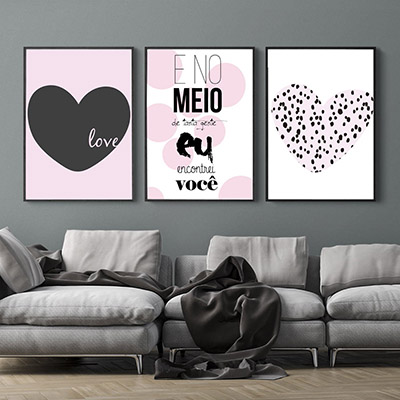 Kit Quadros Decorativos Eu Você Love Coração