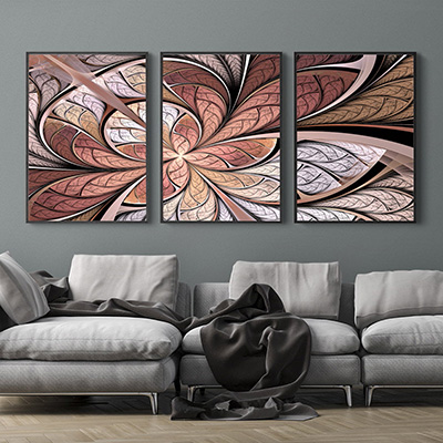 Kit Quadros Decorativos Flor Vitral Rose Abstrato
