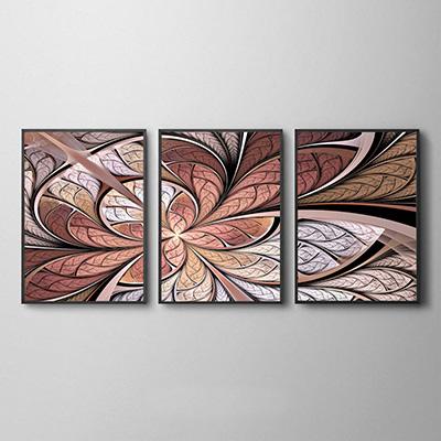 Kit Quadros Decorativos Flor Vitral Rose Abstrato