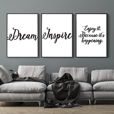 Kit Quadros Decorativos Frases Inspire Dream