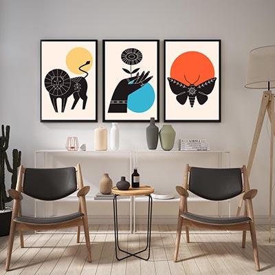 Kit Quadros Decorativos Leão Borboleta Nórdicos Moderno Colorido