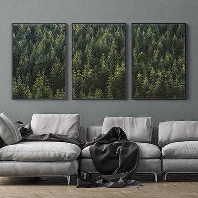 Kit Quadros Decorativos  Montanhas Árvores Floresta
