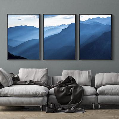 Kit Quadros Decorativos Nuvens Montanhas Azul