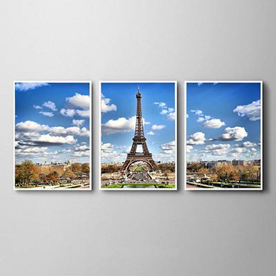 Kit Quadros Decorativos  Nuvens Torre Paris