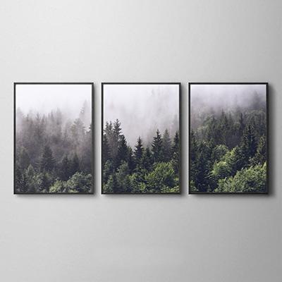 Kit Quadros Decorativos Paisagem Neblina Floresta Sala Quarto 3 Peças