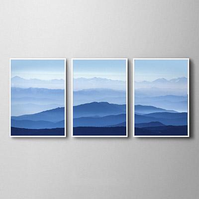 Kit Quadros Decorativos  paisagens Montanhas Nuvens Azul Celeste