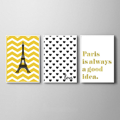 Kit Quadros Decorativos Torre Eiffel Coração Paris Dourado