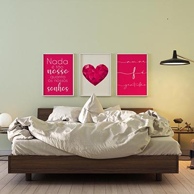 Kit Quadros Frases Coração Rosa Amor Fé Gratidão Sala