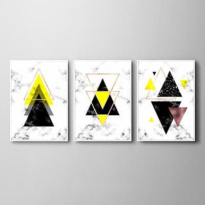 Kit Quadros Geométricos Triângulos Amarelo Sala Quarto